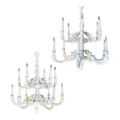 Pair of Antique Painted Chandeliers