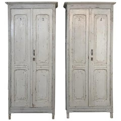 Pair of Antique Painted Wooden Locker Cabinets