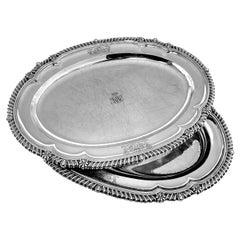 Pair Antique Paul Storr Antique Georgian Silver Meat Serving Platters, 1818