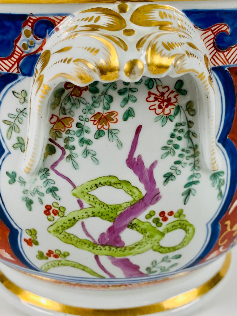 Pair of Antique Porcelain Wine Coolers in the Dollar Pattern Hand Painted For Sale 4