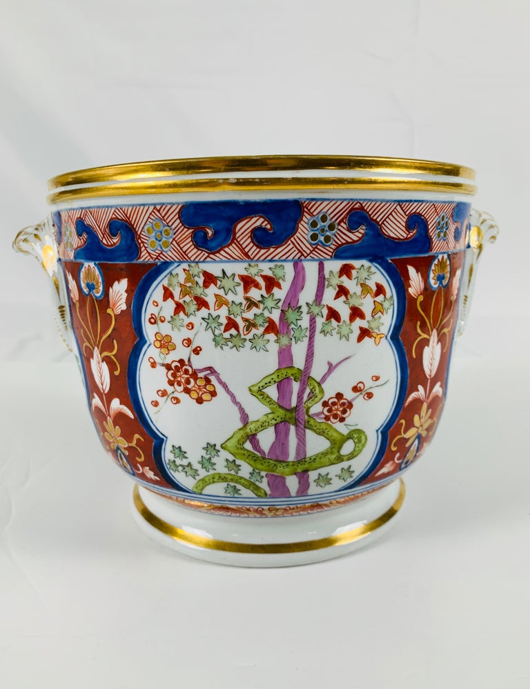 Hand-Painted Pair of Antique Porcelain Wine Coolers in the Dollar Pattern Hand Painted For Sale