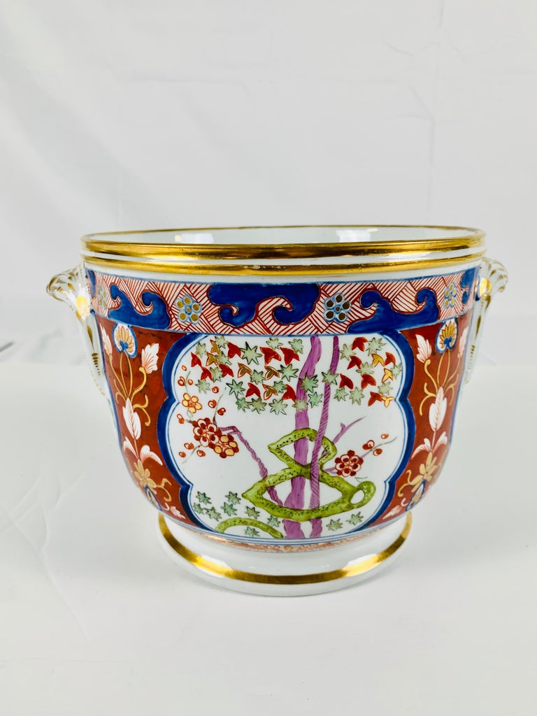 Pair of Antique Porcelain Wine Coolers in the Dollar Pattern Hand Painted In Good Condition For Sale In Katonah, NY