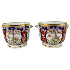 Pair of Antique Porcelain Wine Coolers in the Dollar Pattern Hand Painted
