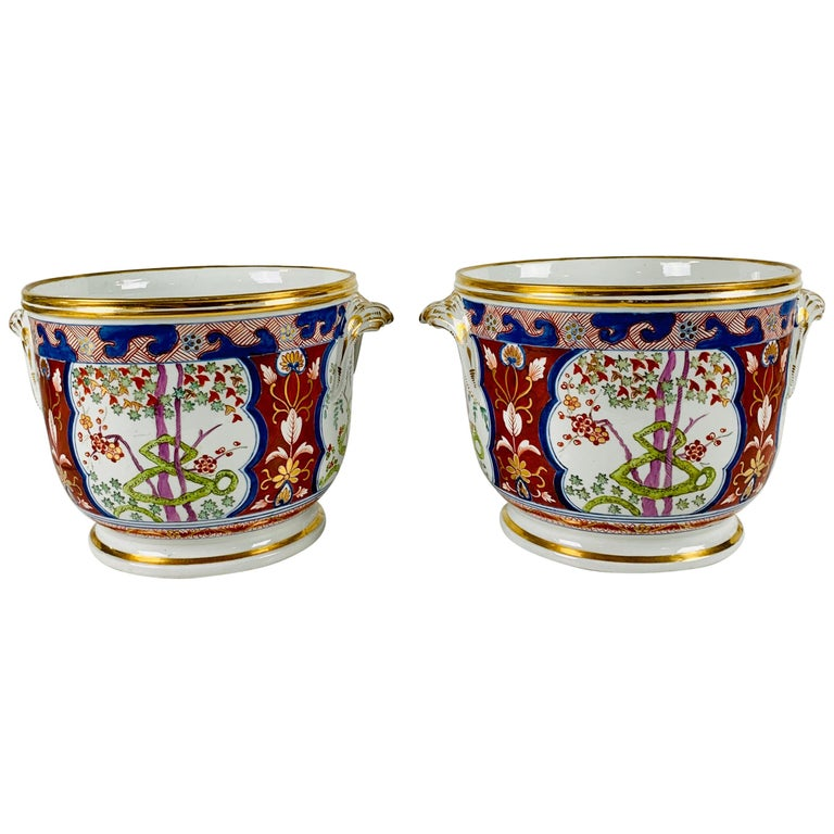 Pair of Antique Porcelain Wine Coolers in the Dollar Pattern Hand Painted For Sale