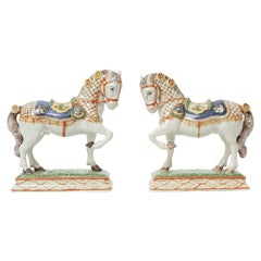 Pair Antique Pottery Models of Horse, Ardennais, 19th Century Attrib Boussemart