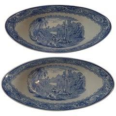 Pair Antique Ridgway Blue & White Bowls, Venice, c. 1920