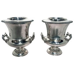 Pair of Antique Sheffield Silver Plate Wine Coolers