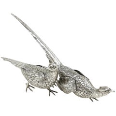 Pair Antique Silver Model Pheasants Figures, Germany c. 1900 Large