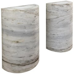 Pair of Mid-Century Solid Marble Half-Columns, Table Pedestals