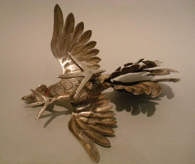 20th Century Pair of Antique Solid Silver Cockerels or Roosters in an Attitude of Fighting For Sale