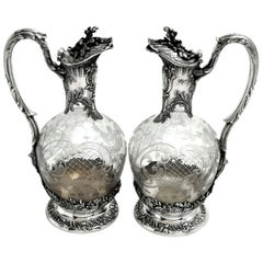 Pair of Antique Solid Silver and Glass Claret Jugs / Wine Decanters, circa 1890