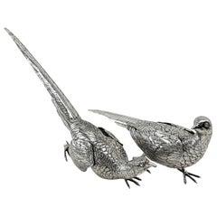 Pair of Solid Silver Pheasants Model Figure Statue German Birds, circa 1890