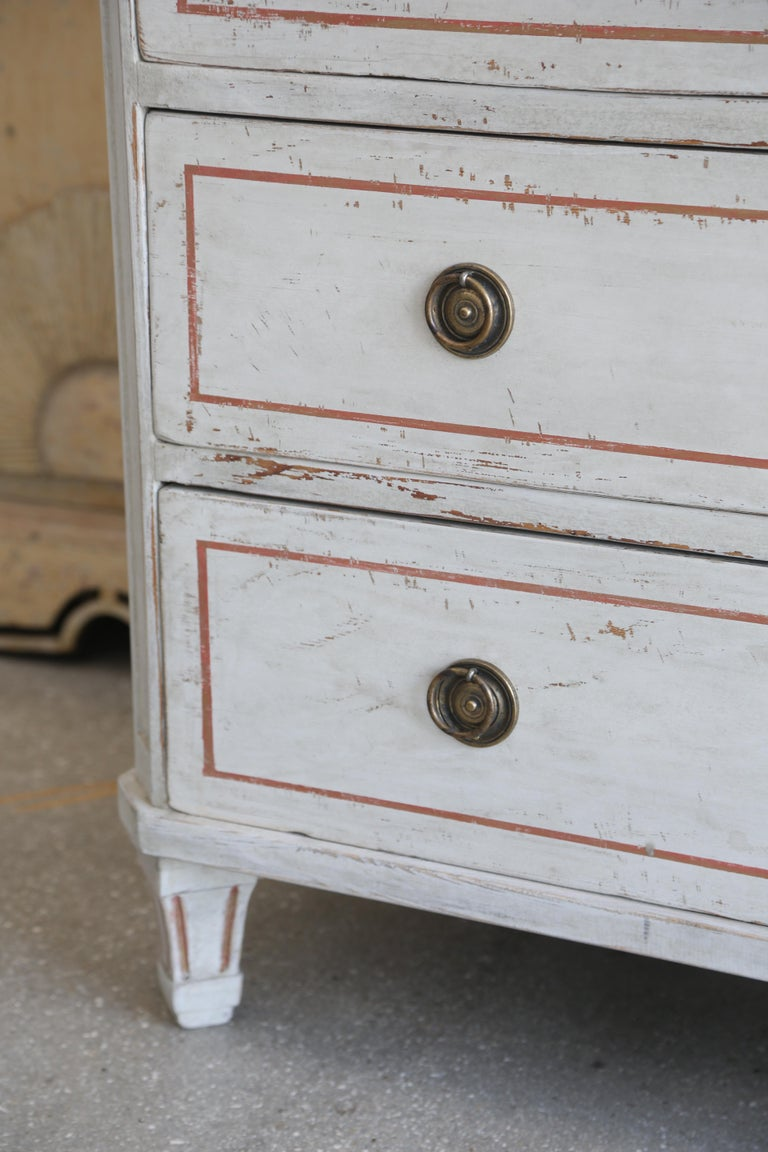 Pair of Antique Swedish Gustavian, Painted Chests Gold Leaf, Late 19th Century For Sale 1