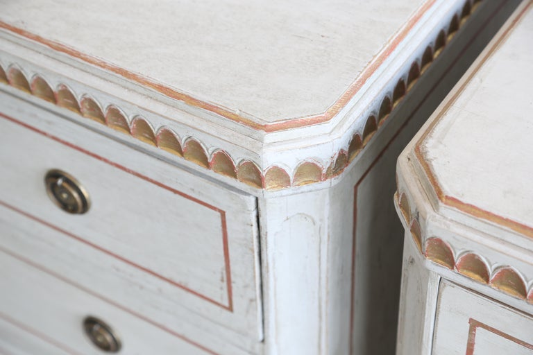 Pair of Antique Swedish Gustavian, Painted Chests Gold Leaf, Late 19th Century For Sale 5