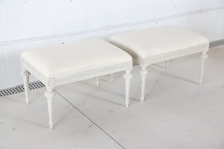 Pair of Antique Swedish Gustavian Style Painted Stools  In Good Condition For Sale In West Palm Beach, FL