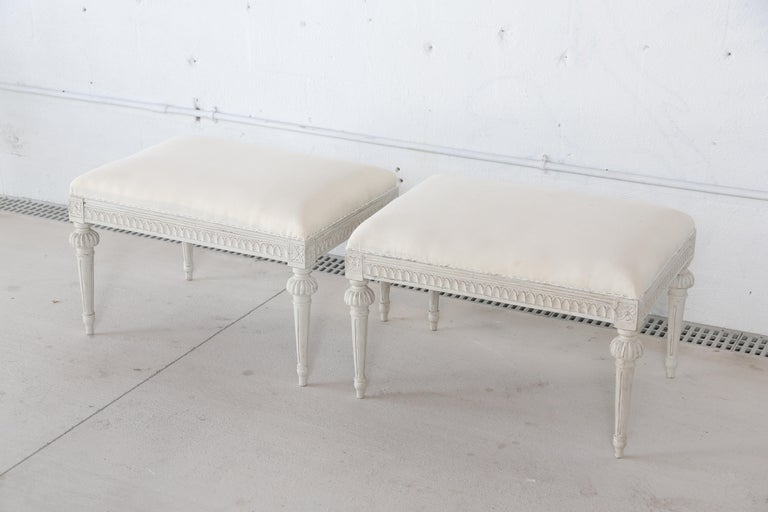 20th Century Pair of Antique Swedish Gustavian Style Painted Stools  For Sale
