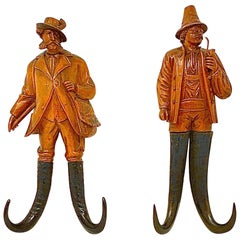 """Pair Antique Swiss Carved """"Hunter's"""" Coat Hooks with Chamois Horn, Circa 1890's"""