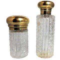 Pair Antique Vermeil Gilt Silver Napoleonic Crest Perfume Bottles, circa 1880