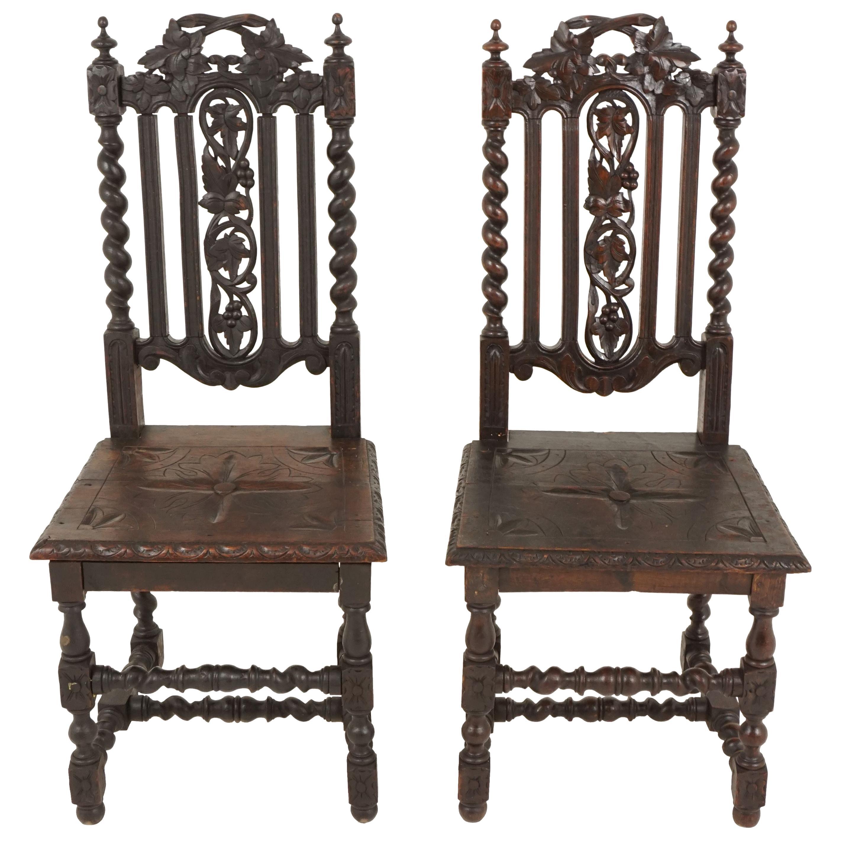 Pair of Antique Victorian Carved Oak Barley Twist Chairs, Scotland 1880, B2484