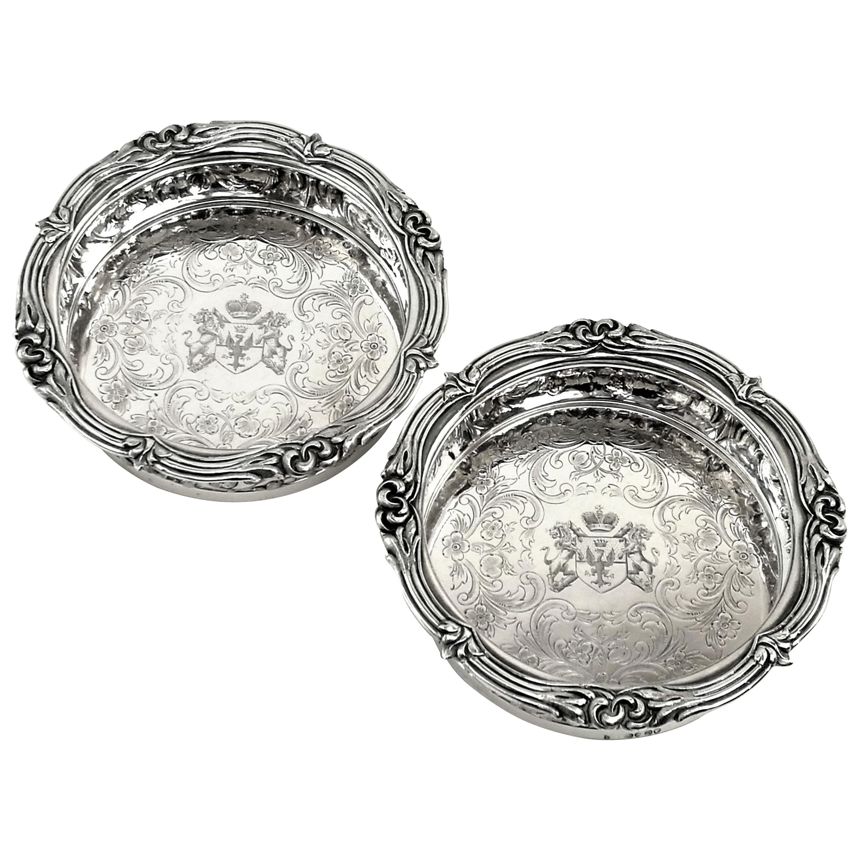 Pair of Antique Victorian Sterling Silver Wine Bottle Coasters 1839