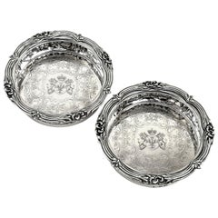 Pair of Antique Victorian Silver Wine Bottle Coasters, 1839