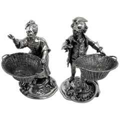 Pair of Antique Victorian Sterling Silver Boy and Girl Salts / Pinch Pots, 1899