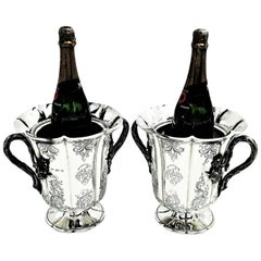 Pair of Antique Victorian Sterling Silver Wine Coolers / Champagne Buckets 1844