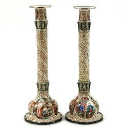 Pair of Antique Viennese Enamel & Silver Candlesticks circa 1870 Vienna, Austria