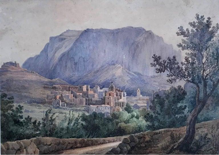 Pair antique views of Capri Pair gold-framed French watercolor views of Capri entitled,