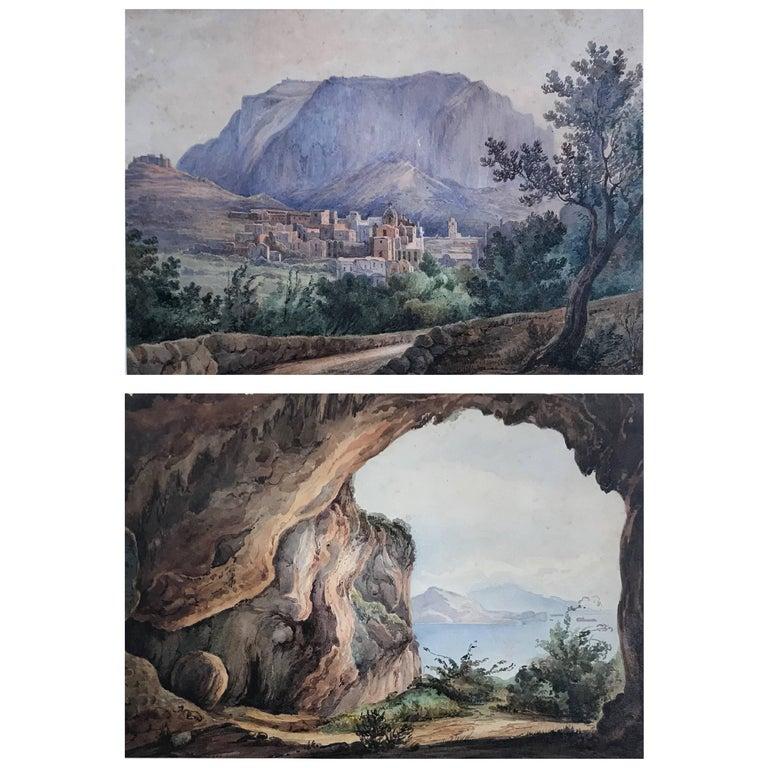 Pair Antique Views of Capri For Sale