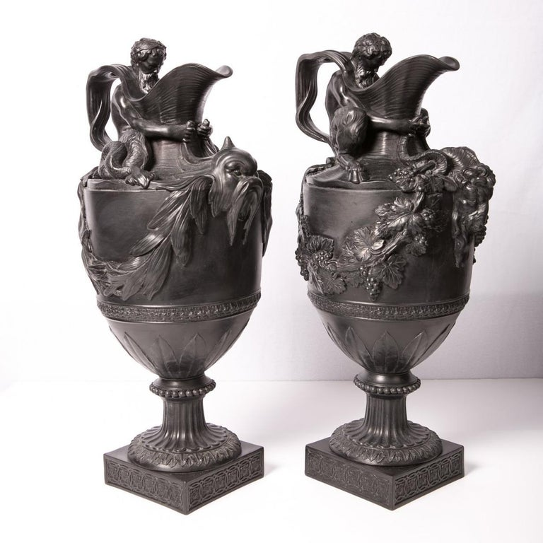Neoclassical Pair of Antique Wedgwood Black Basalt Ewers For Sale