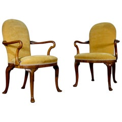Pair Antique Yellow Upholstered George I Style Armchairs Walnut shepherd crook