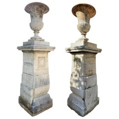 Antiques Hand Carved Stone Pillars Columns Posts Base Pedestal & Urn Vases, Pair