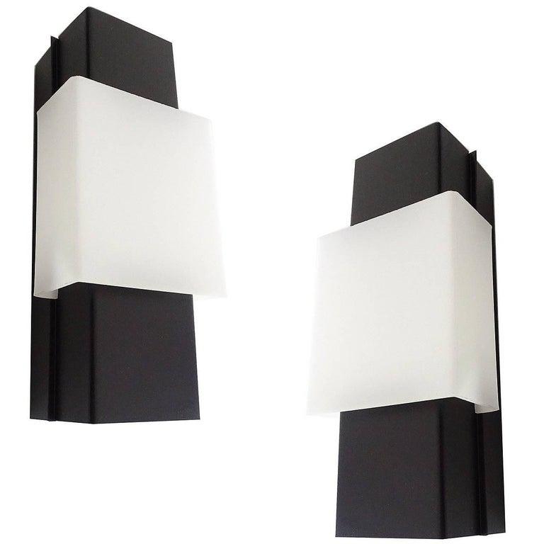 Pair of Large Architectonic Lucite Anvia  Mirror Vanity Sconces