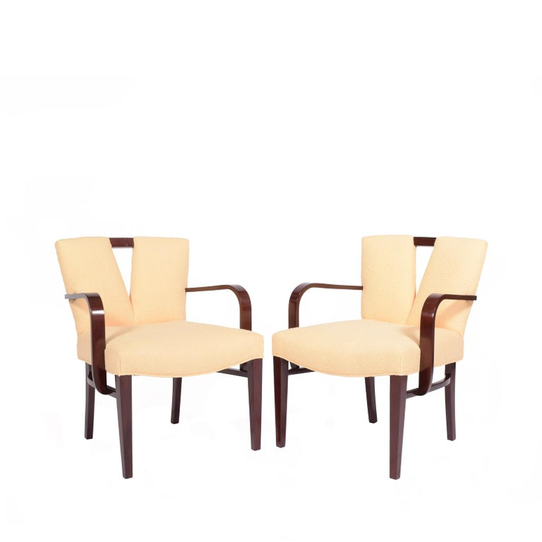 Set of two armchairs mahogany stain wood and new upholstery design by Paul Frankl for Johnson Furniture.
