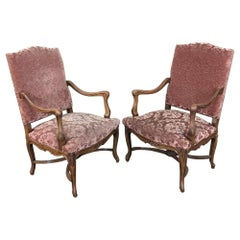 Pair of Armchairs, 19th Century French Louis XV in Walnut