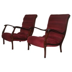 Armchairs Arredamenti Corallo 1950 Red Velvet Walnut Curved Italian Design, Pair