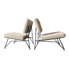 Pair Armchairs Cerutti Upholstered White Velvet Iron Laquered Lissone Italy 1960