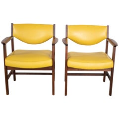 Pair of Armchairs MCM Gold Faux Leather & Walnut by Madison Furniture Industries