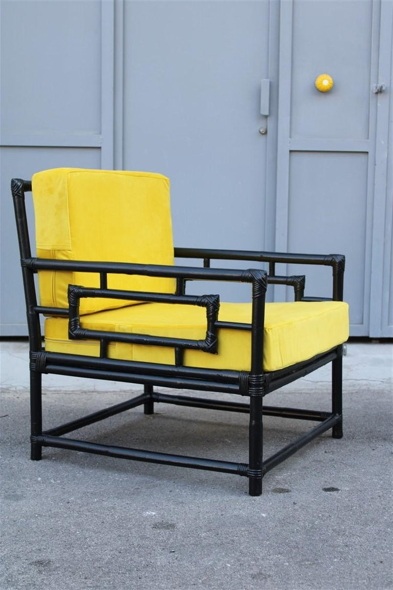 Pair of armchairs Vivai Del Sud 1970s bamboo black yellow velvet made in Italy.