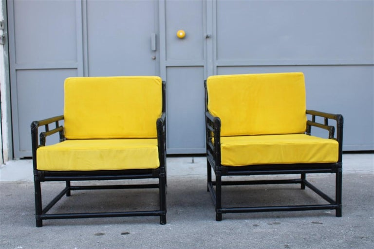 Italian Pair of Armchairs Vivai Del Sud 1970s Bamboo Black Yellow Velvet Made in Italy For Sale
