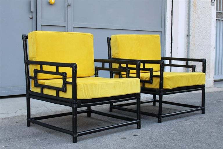Pair of Armchairs Vivai Del Sud 1970s Bamboo Black Yellow Velvet Made in Italy In Good Condition For Sale In Palermo, Sicily