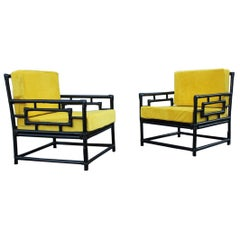 Pair of Armchairs Vivai Del Sud 1970s Bamboo Black Yellow Velvet Made in Italy