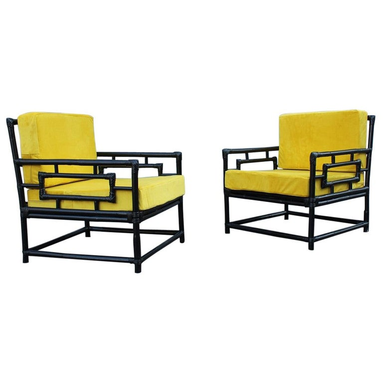 Pair of Armchairs Vivai Del Sud 1970s Bamboo Black Yellow Velvet Made in Italy For Sale