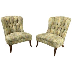 Pair of Art Deco Armless Lounge Chairs in the Style of Ernst Schwadron