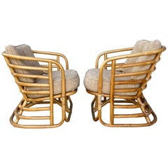 Pair Art Deco Bamboo Stylized Lounge Chairs, Attributed to Beverly Hills Rattan