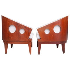 Pair of Art Deco Barrel-Back Chairs