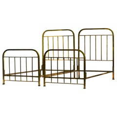 Pair of Art Deco Brass Beds Antique French Single Twin circa 1930 Makers Label