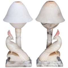 Pair of Art Deco Carved Italian Marble & Alabaster Figural Cockatoo Lamps