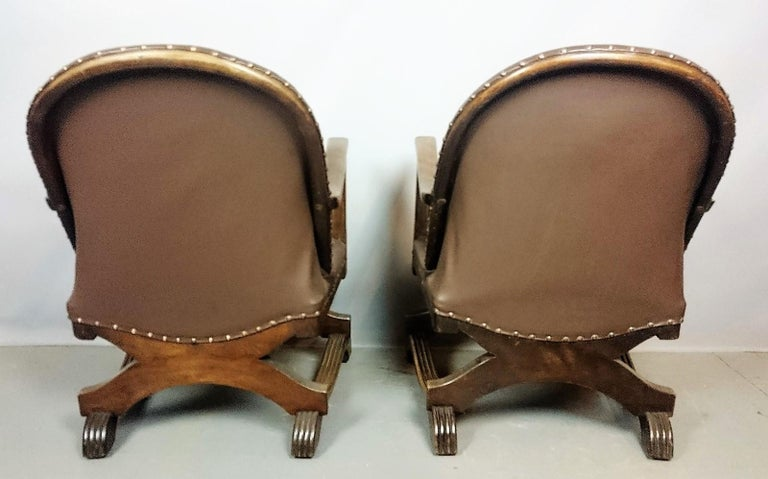 Pair Art Deco Leather Armchairs at 1stdibs